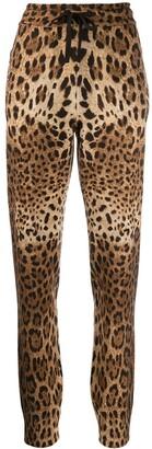 Dolce & Gabbana Cashmere Leopard Print Track Pants
