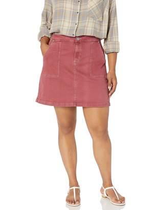 City Chic Women's Apparel Women's Plus Size Short Denim Skirt with Contrast Stitching