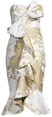Mestiza New York Stephanie Jacquard Floral Strapless Midi Dress