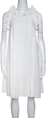 Fendi Off White Silk Ruffle Detail Pleated Short Dress S