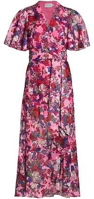 Tanya Taylor Blaire Floral Midi Wrap Dress