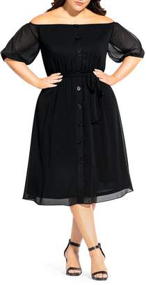 City Chic Plus Off-the-Shoulder Belted Dress