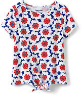 Lands' End Little Girls Tie Front Printed Knit Top-Bright Scarlet Flowers
