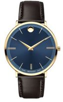 Movado Yellow Gold PVD Finished Stainless Steel & Calfskin Leather Strap Watch, 0607088