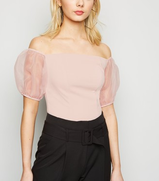 New Look Organza Puff Sleeve Bardot Top