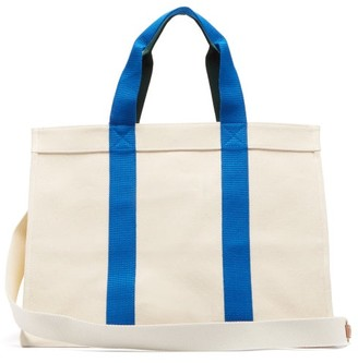 Lego Rue De Verneuil Large Leather-trimmed Canvas Tote Bag - Womens - Blue Multi