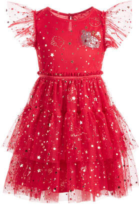 Hello Kitty Toddler Girls Embellished Tiered Mesh Dress