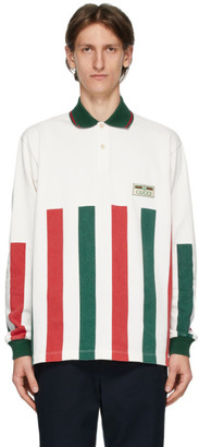Gucci White Web Striped Long Sleeve Polo