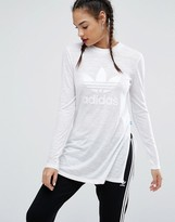 adidas Nyc White Long Sleeve T-Shirt With Side Splits