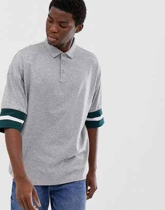 ASOS DESIGN oversized polo shirt with contrast tipping in gray marl