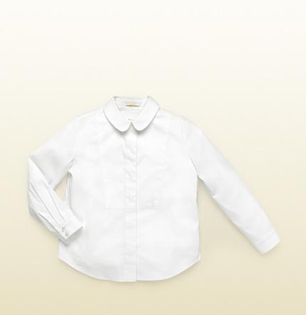 Gucci Kid's White Button-Down Poplin Shirt