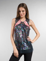 Plenty by Tracy Reese Sequin Patchwork Shell