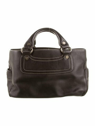 Celine Leather Handle Bag silver