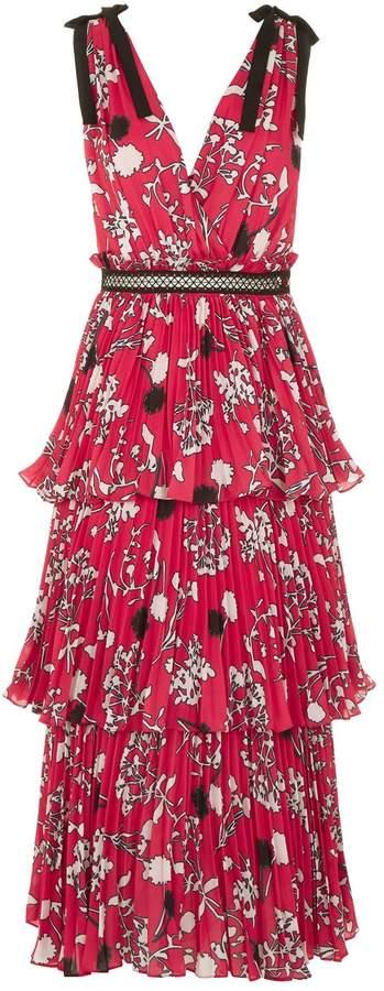 Self-Portrait Floral Tie Shoulder Midi Dress