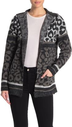 Joseph A Leopard Colorblock Hooded Cardigan
