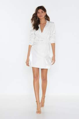 Nasty Gal Womens Shiny A River Belted Blazer Dress - White - 12