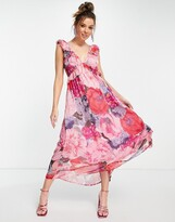 Thumbnail for your product : Forever U oversize floral midaxi dress in pink