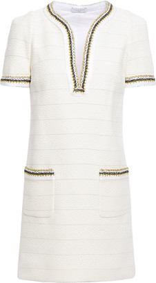 Sandro Josepha Metallic-trimmed Cotton-tweed Mini Dress