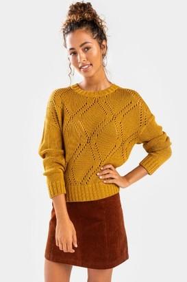 francesca's Della Pointelle Crew Neck Sweater - Pink