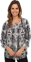 Karen Kane Women's Bohemian Blue Peasant Top