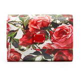 Dolce & Gabbana Rose-print leather wallet