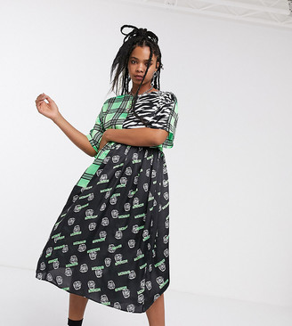 Collusion midi smock dress in mixed print