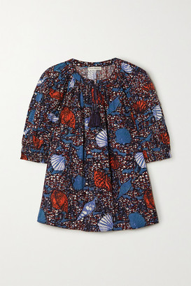 Ulla Johnson Arin Tasseled Printed Cotton Top - Blue