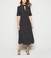 New Look Spot Flutter Sleeve Midi Dress
