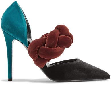 Marco De Vincenzo Color-block Braided Velvet Pumps - Burgundy