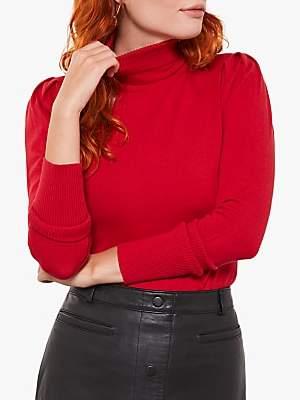 Mint Velvet Cotton Blend Puffed Sleeve Jumper, Red