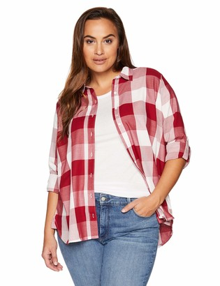 Riders by Lee Indigo Women's Long Sleeve Button Front Buffalo Plaid Shirt