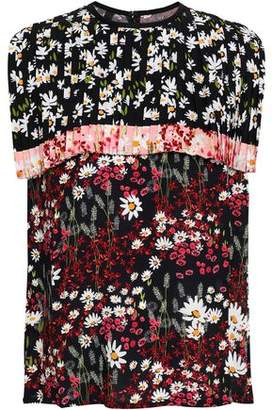Mother of Pearl Cape-effect Floral-print Crepe Top