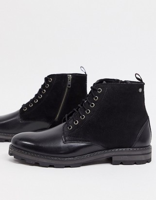Ben Sherman lace up ankle boots in black leather suede mix
