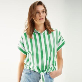 Tommy Hilfiger Cropped Tie-Waist Stripe Shirt