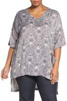 Melissa McCarthy One-Pocket Print V-Neck Tee (Plus Size)