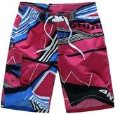YOUJIA Men's Board Shorts Casual Striped Beach Shorts Swim Trunk (Red, 2XL)