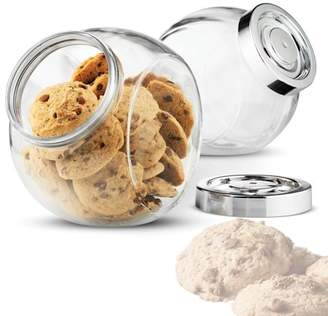 clear Shopokus High Quality Cookie Jar 75. Ounce Glass Jar (2 Pack) With Plastic Air-tight Sealed Screw-on Lid 2 Ways Display for Candies, Pretzels, Dry Food, Flour, Sugar, Jelly Bean Jar Canister,