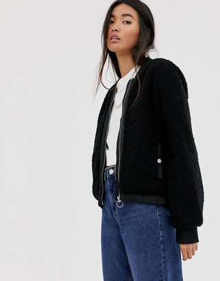 Only teddy bomber jacket in black