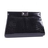 Kara Ross pristine (PR Black Crocodile Skin Jewel Embellished Clutch Bag