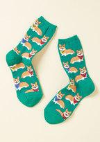 ModCloth Corgi, Fi, Fo, Fum Socks in Emerald