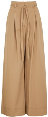 Tory Burch Camel Wide-leg Cotton Trousers