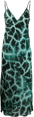 Roberto Cavalli long Giraffe Chine print dress