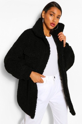 boohoo Oversized Belted Teddy Faux Fur Shacket