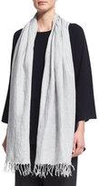 eskandar Handkerchief Linen Shawl, Gray