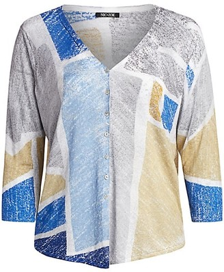 NIC+ZOE, Plus Size Sea Glass Colorblock Linen-Blend Cardigan