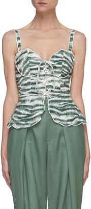 Cult Gaia Shari' graphic print sleeveless lace up corset top