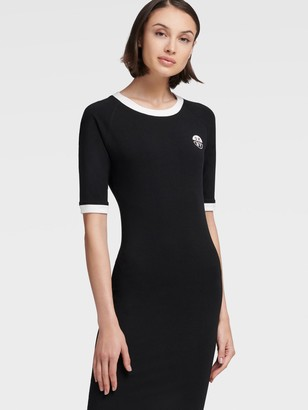 DKNY Women's Body-con T-shirt Dress - Black - Size S