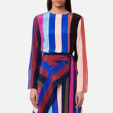 Diane von Furstenberg Women's Side Slit Shell Top Carson Stripe Black/Multi