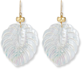 Nest Jewelry Hand-Carved Mother-of-Pearl Palm Leaf Earrings