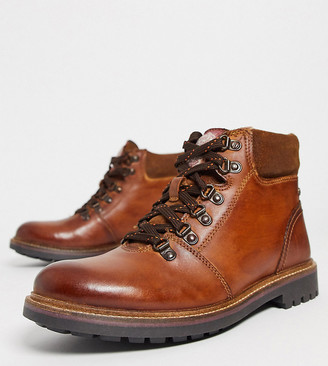Base London Wide Fit Fawn hiker boots in burnished brown